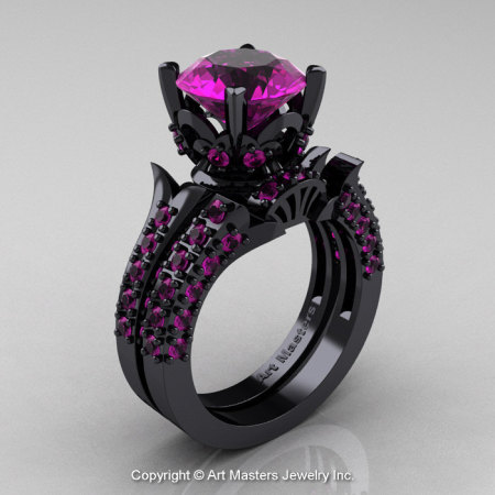 Classic French 14K Black Gold 3.0 Ct Amethyst Solitaire Wedding Ring Wedding Band Set R401S-14KBGAM-1
