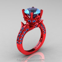 Classic French 14K Red Gold 3.0 Ct Blue Topaz Solitaire Wedding Ring R401-14KRGBT-1