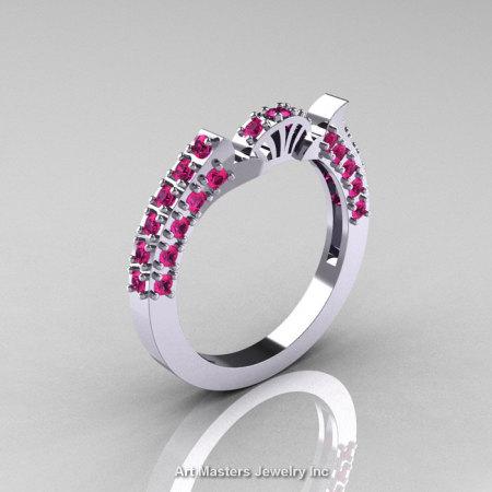 Classic French 10K White Gold Pink Sapphire Flush Matching Wedding Band R401B-10KWGPS-1