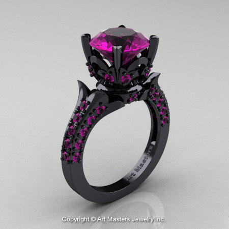 Classic French 14K Black Gold 3.0 Ct Amethyst Solitaire Wedding Ring R401-14KBGAM-1