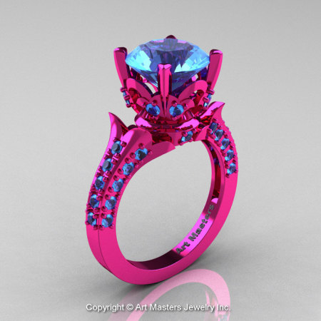 Classic French 14K Fuchsia Pink Gold 3.0 Ct Blue Topaz Solitaire Wedding Ring R401-14KFPGBT-1