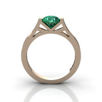 Modern 14K Rose Gold 1.0 Ct Luxurious Engagement Ring or Wedding Ring with an Emerald Center Stone R667-14KRGEM-1