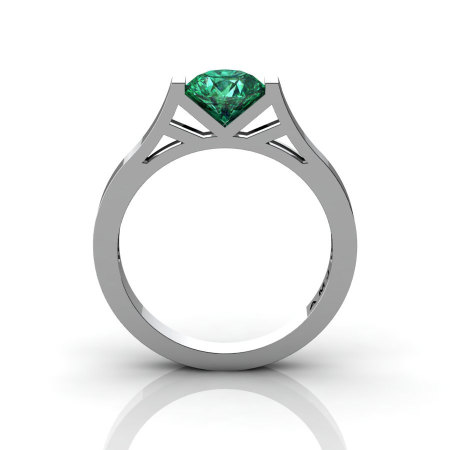 Modern 14K White Gold 1.0 Ct Luxurious Engagement Ring or Wedding Ring with an Emerald Center Stone R667-14KWGEM-1
