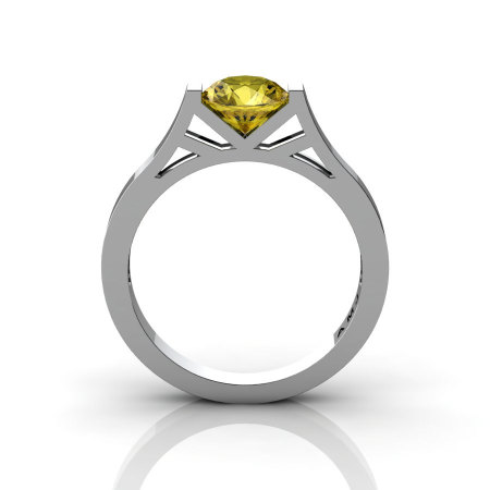 Modern 14K White Gold 1.0 Ct Luxurious Engagement Ring or Wedding Ring with a Yellow Sapphire Center Stone R667-14KWGYS-1