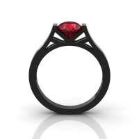 Modern 14K Black Gold 1.0 Ct Gorgeous Engagement Ring or Wedding Ring with a Ruby Center Stone R667-14KBGR-1