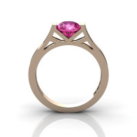 Modern 14K Rose Gold 1.0 Ct Luxurious Engagement Ring or Wedding Ring with a Pink Sapphire Center Stone R667-14KRGPS-1