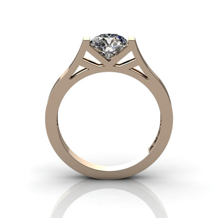Modern 14K Rose Gold 1.0 Ct Luxurious Engagement Ring or Wedding Ring with a White Sapphire Center Stone R667-14KRGWS-1