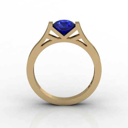 Modern 14K Yellow Gold 1.0 Ct Luxurious Engagement Ring or Wedding Ring with a Blue Sapphire Center Stone R667-14KYGBS-1