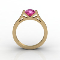 Modern 14K Yellow Gold 1.0 Ct Luxurious Engagement Ring or Wedding Ring with a Pink Sapphire Center Stone R667-14KYGPS-1