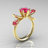 14K Yellow Gold 1.0 Ct Pink Sapphire Diamond Nature Inspired Engagement Ring Wedding Ring R671-14KYGDPS-1