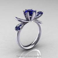 14K White Gold 1.0 Ct Blue Sapphire Diamond Nature Inspired Engagement Ring Wedding Ring R671-14KWGDBS-1