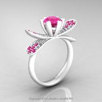 Organic Design 14K Ceramic White Gold 1.0 Ct Pink Sapphire Diamond Nature Inspired Engagement Ring Wedding Ring R671-14KCWGDPS-1