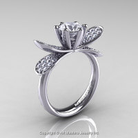 14K White Gold 1.0 Ct White Sapphire Diamond Nature Inspired Engagement Ring Wedding Ring R671-14KWGDWS-1