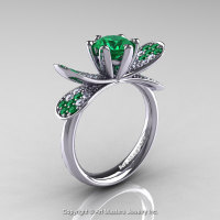 14K White Gold 1.0 Ct Emerald Diamond Nature Inspired Engagement Ring Wedding Ring R671-14KWGDEM-1