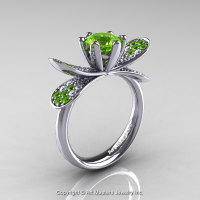14K White Gold 1.0 Ct Peridot Diamond Nature Inspired Engagement Ring Wedding Ring R671-14KWGDP-1