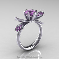 14K White Gold 1.0 Ct Lilac Amethyst Diamond Nature Inspired Engagement Ring Wedding Ring R671-14KWGDLAM-1