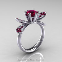 14K White Gold 1.0 Ct Garnet Diamond Nature Inspired Engagement Ring Wedding Ring R671-14KWGDG-1