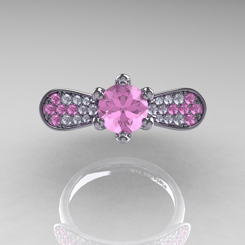 14K White Gold 1 0 Ct Light Pink Sapphire Diamond Nature Inspired Engagement