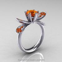 14K White Gold 1.0 Ct Orange Sapphire Diamond Nature Inspired Engagement Ring Wedding Ring R671-14KWGDOS-1