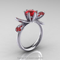14K White Gold 1.0 Ct Rubies Diamond Nature Inspired Engagement Ring Wedding Ring R671-14KWGDR-1