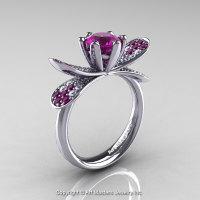 14K White Gold 1.0 Ct Amethyst Diamond Nature Inspired Engagement Ring Wedding Ring R671-14KWGDAM-1