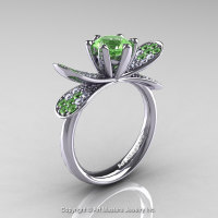 14K White Gold 1.0 Ct Green Topaz Diamond Nature Inspired Engagement Ring Wedding Ring R671-14KWGDGT-1