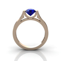 14K Rose Gold Elegant and Modern Wedding or Engagement Ring for Women with a Blue Sapphire Center Stone R665-14KRGBS-1