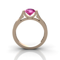 14K Rose Gold Elegant and Modern Wedding or Engagement Ring for Women with a Pink Sapphire Center Stone R665-14KRGPS-1