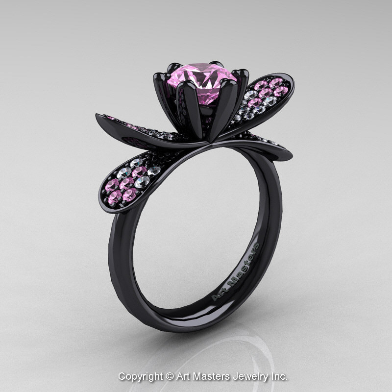 14K Black Gold 1 0 Ct Light Pink Sapphire Diamond Nature Inspired Engagement