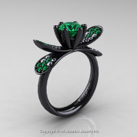 14K Black Gold 1.0 Ct Emerald Diamond Nature Inspired Engagement Ring Wedding Ring R671-14KBGDEM-1