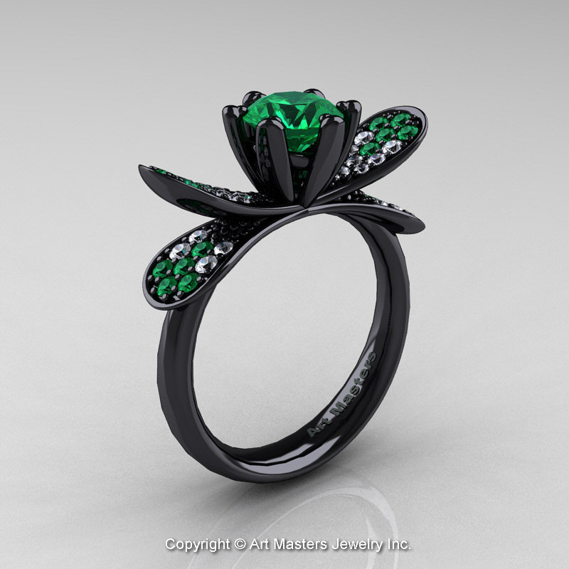14k black gold 10 ct emerald diamond nature inspired engagement ring wedding ring r671 14kbgdem - Nature Inspired Wedding Rings