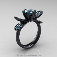 14K Black Gold 1.0 Ct Blue Topaz Diamond Nature Inspired Engagement Ring Wedding Ring R671-14KBGDBT-1
