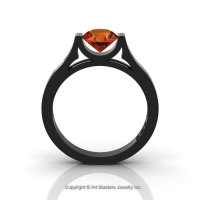 14K Black Gold Elegant and Modern Wedding or Engagement Ring for Women with an Orange Sapphire Center Stone R665-14KBGOS-1