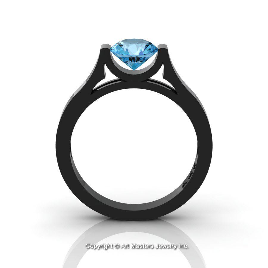 Modern 14k Black Gold Beautiful Wedding Ring Or Engagement