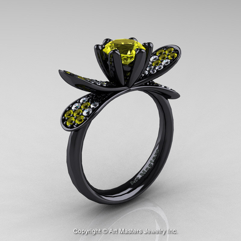 14K Black Gold 1 0 Ct Yellow Sapphire Diamond Nature Inspired Engagement Ring