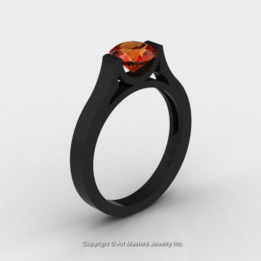 14K Black Gold Elegant and Modern Wedding or Engagement Ring for