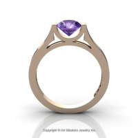 Modern 14K Rose Gold Beautiful Wedding Ring or Engagement Ring for Women with 1.0 Ct Amethyst Center Stone R665-14KRGAM-1