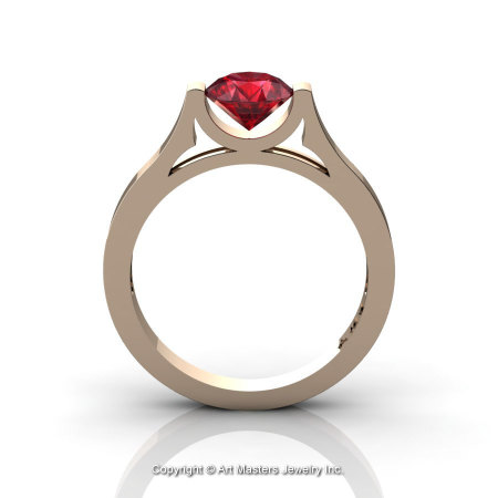 Modern 14K Rose Gold Beautiful Wedding Ring or Engagement Ring for Women with 1.0 Ct Ruby Center Stone R665-14KRGR-1