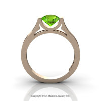 Modern 14K Rose Gold Beautiful Wedding Ring or Engagement Ring for Women with 1.0 Ct Peridot Center Stone R665-14KRGP-1