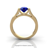 Modern 14K Yellow Gold Designer Wedding Ring or Engagement Ring for Women with 1.0 Ct Blue Sapphire Center Stone R665-14KYGBS-1