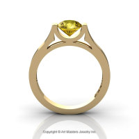 Modern 14K Yellow Gold Designer Wedding Ring or Engagement Ring for Women with 1.0 Ct Yellow Sapphire Center Stone R665-14KYGYS-1