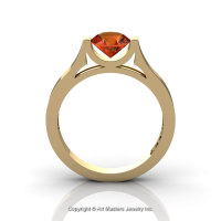 Modern 14K Yellow Gold Designer Wedding Ring or Engagement Ring for Women with 1.0 Ct Orange Sapphire Center Stone R665-14KYGOS-1