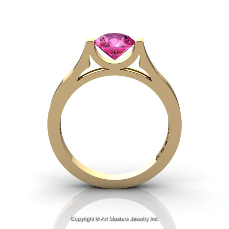 Modern 14K Yellow Gold Designer Wedding Ring or Engagement Ring for Women with 1.0 Ct Pink Sapphire Center Stone R665-14KYGPS-1