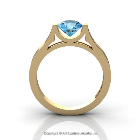 Modern 14K Yellow Gold Designer Wedding Ring or Engagement Ring for Women with 1.0 Ct Blue Topaz Center Stone R665-14KYGBT-1