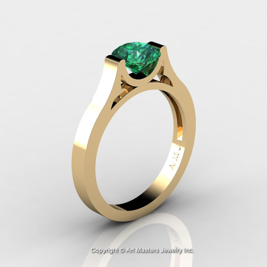 Modern 14K Yellow Gold Designer Wedding Ring or Engagement ...