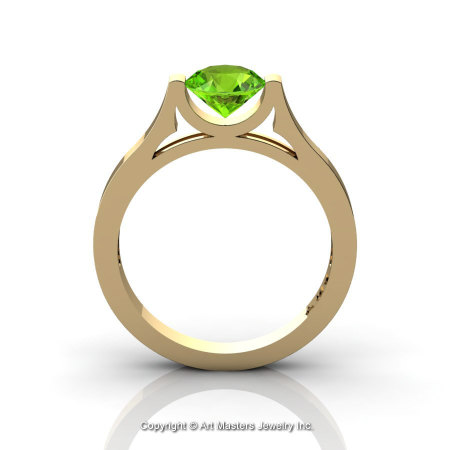 Modern 14K Yellow Gold Designer Wedding Ring or Engagement Ring for Women with 1.0 Ct Peridot Center Stone R665-14KYGP-1