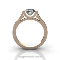 Modern 14K Rose Gold Beautiful Wedding Ring or Engagement Ring for Women with 1.0 Ct White Sapphire Center Stone R665-14KRGWS-1