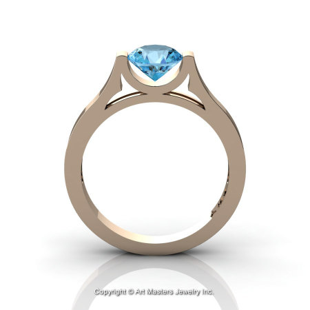 Modern 14K Rose Gold Beautiful Wedding Ring or Engagement Ring for Women with 1.0 Ct Blue Topaz Center Stone R665-14KRGBT-1
