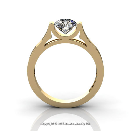 Modern 14K Yellow Gold Designer Wedding Ring or Engagement Ring for Women with 1.0 Ct White Sapphire Center Stone R665-14KYGWS-1