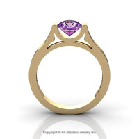 Modern 14K Yellow Gold Designer Wedding Ring or Engagement Ring for Women with 1.0 Ct Amethyst Center Stone R665-14KYGAM-1